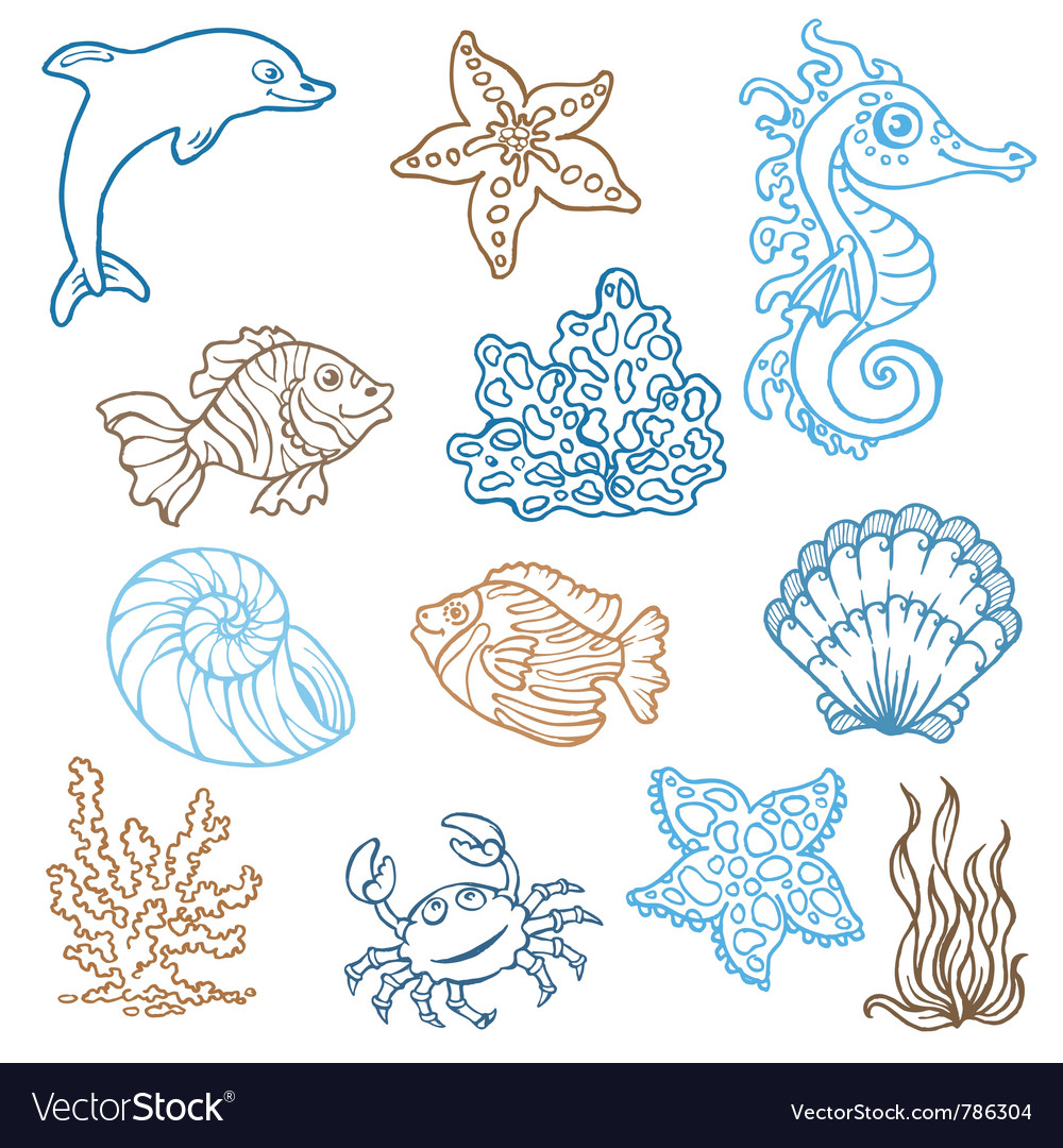 Marine life doodles vector | Price: 1 Credit (USD $1)