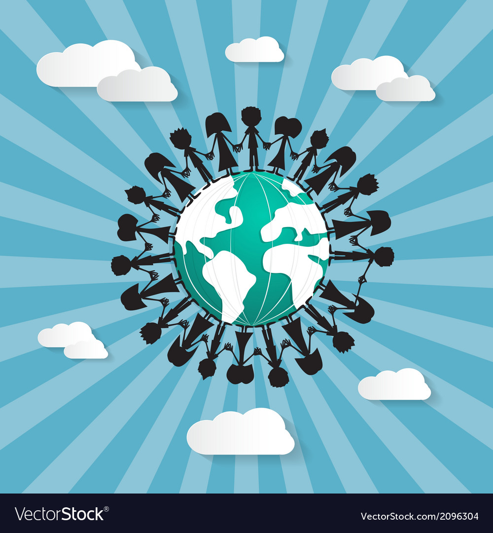 People holding hands around globe vector | Price: 1 Credit (USD $1)