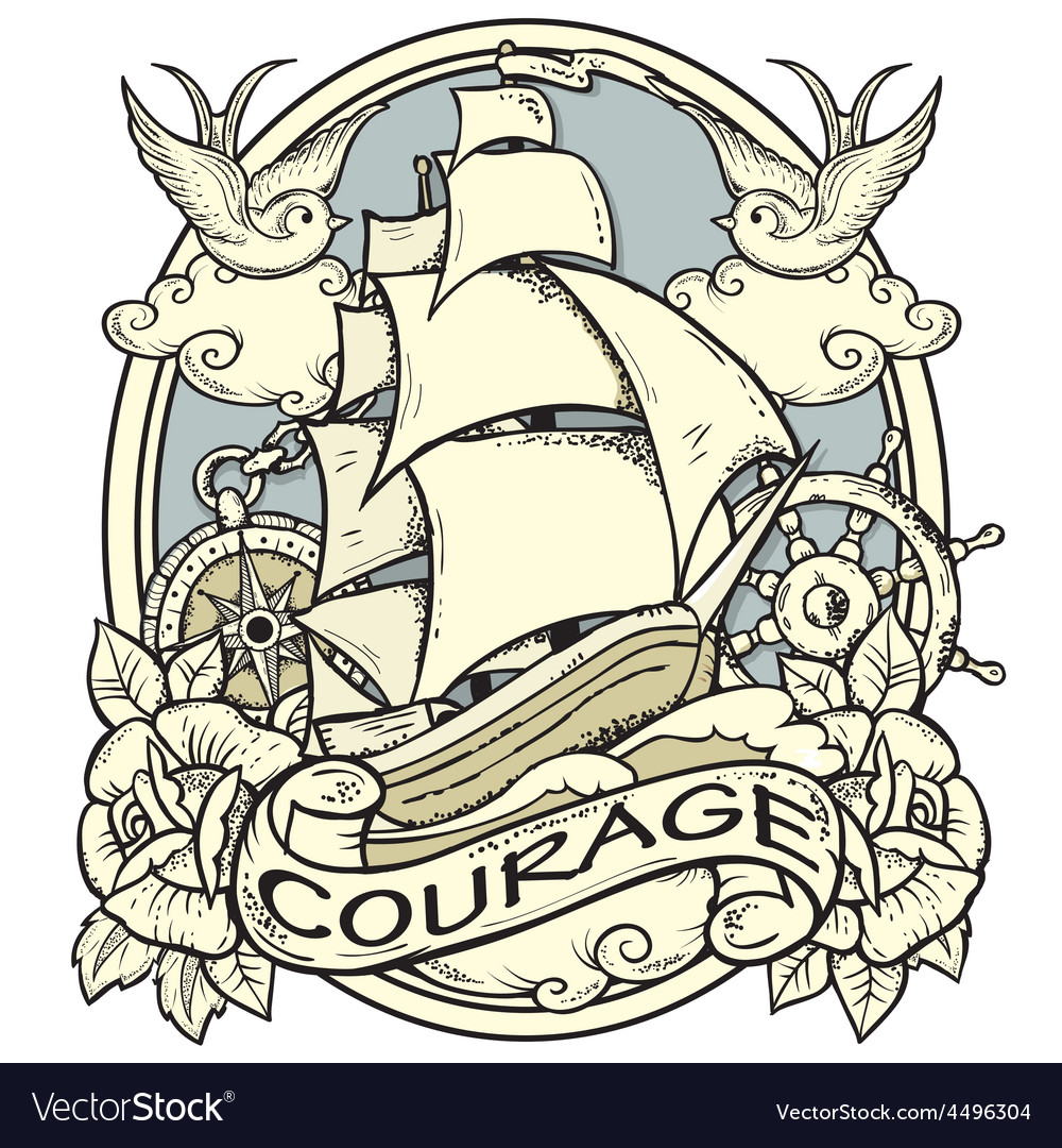 Ship tattoo vector | Price: 3 Credit (USD $3)