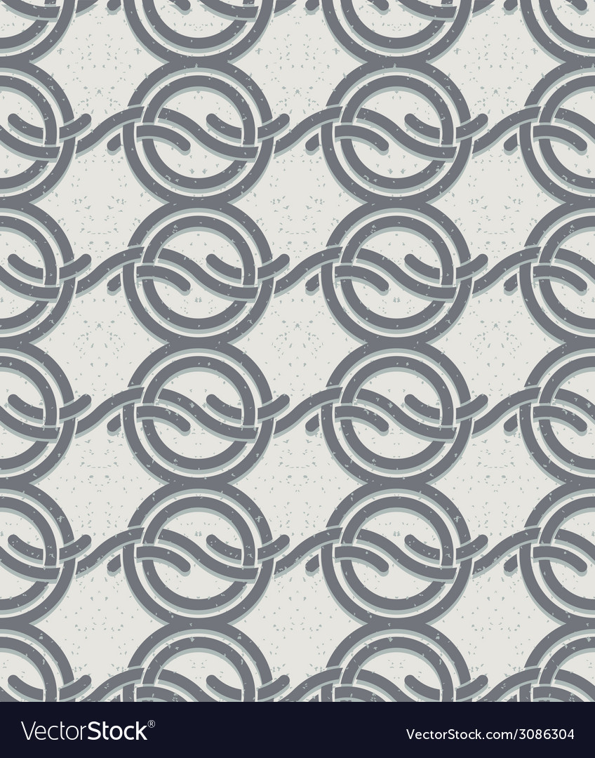 Vintage style circles and waves seamless pattern vector | Price: 1 Credit (USD $1)