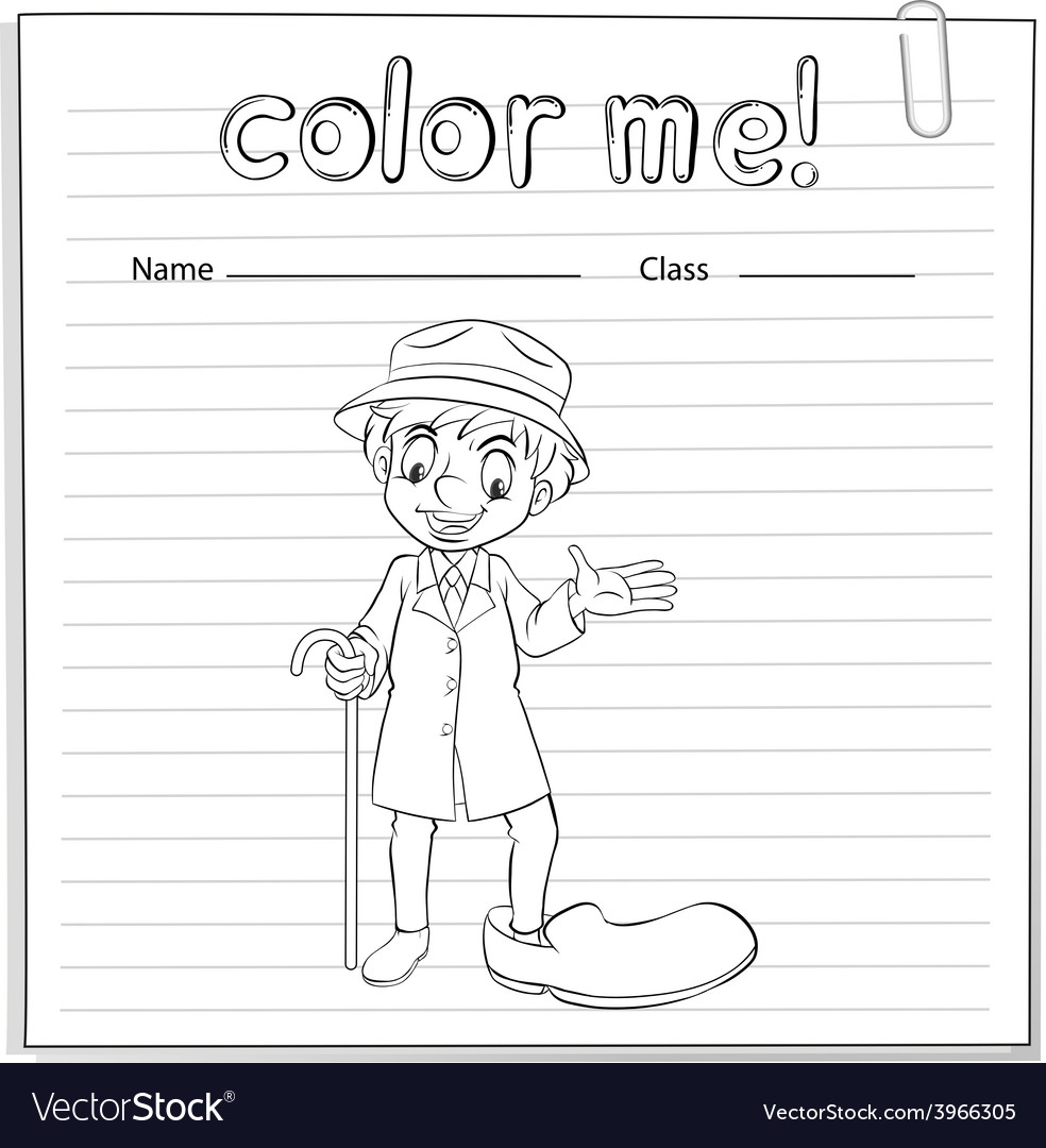 A coloring worksheet with a man vector   Price: 1 Credit (USD $1)