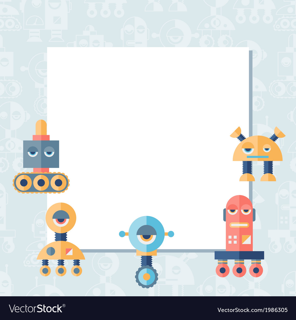 Background with robot in flat style vector | Price: 1 Credit (USD $1)