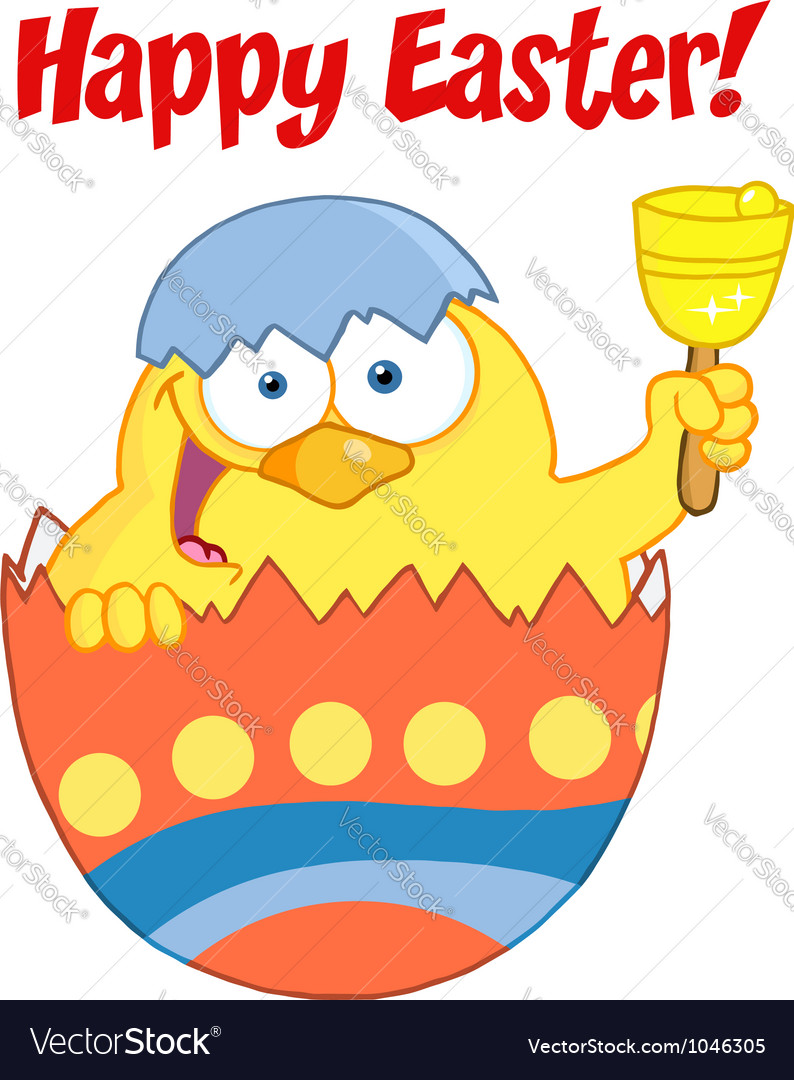 Easter chick in an orange shell ringing a bell vector   Price: 1 Credit (USD $1)