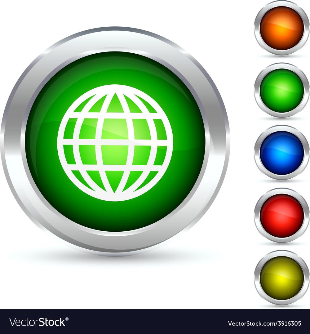 Globe button vector | Price: 1 Credit (USD $1)