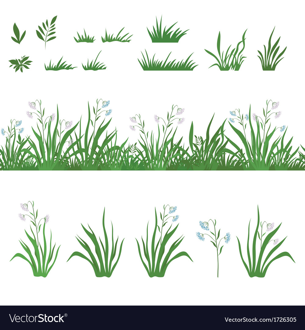 Grass and flowers seamless and sets vector | Price: 1 Credit (USD $1)