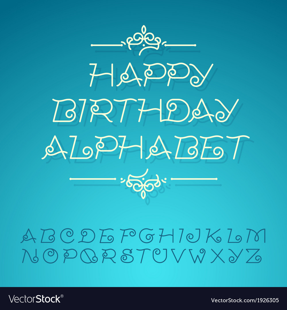 Hand-drawn alphabet letters happy birthday design vector | Price: 1 Credit (USD $1)