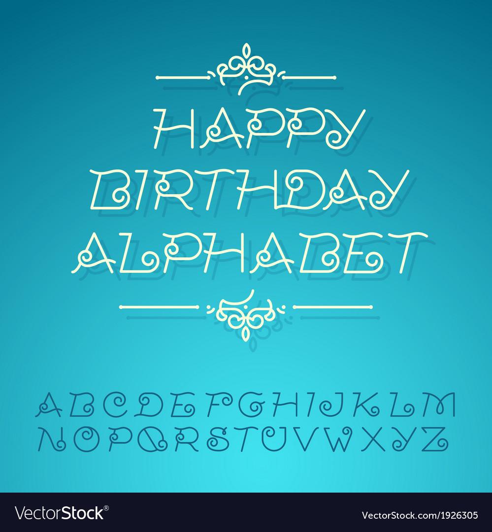 Hand-drawn alphabet letters happy birthday design vector | Price: 1 Credit (USD $1)