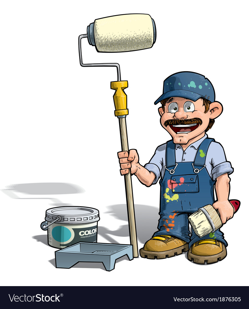 Handyman painter blue uniform vector | Price: 3 Credit (USD $3)