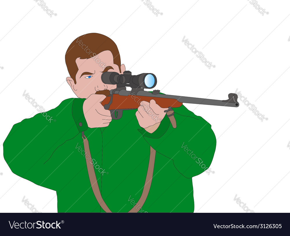 Hunter aiming with sniper rifle vector | Price: 1 Credit (USD $1)