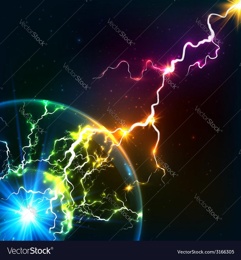 Rainbow colors shining cosmic plasma lightning vector | Price: 1 Credit (USD $1)