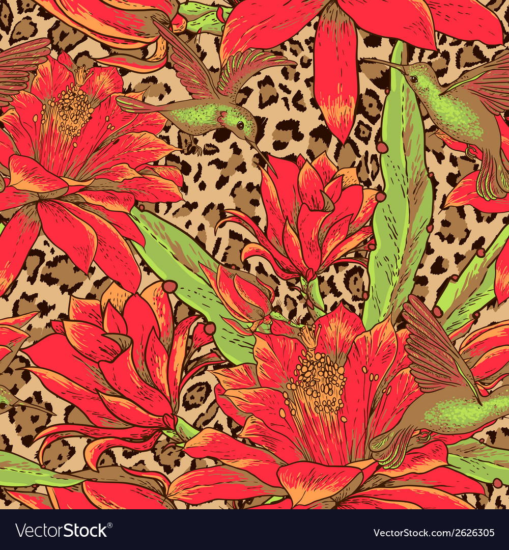 Seamless floral pattern on leopard background vector | Price: 1 Credit (USD $1)