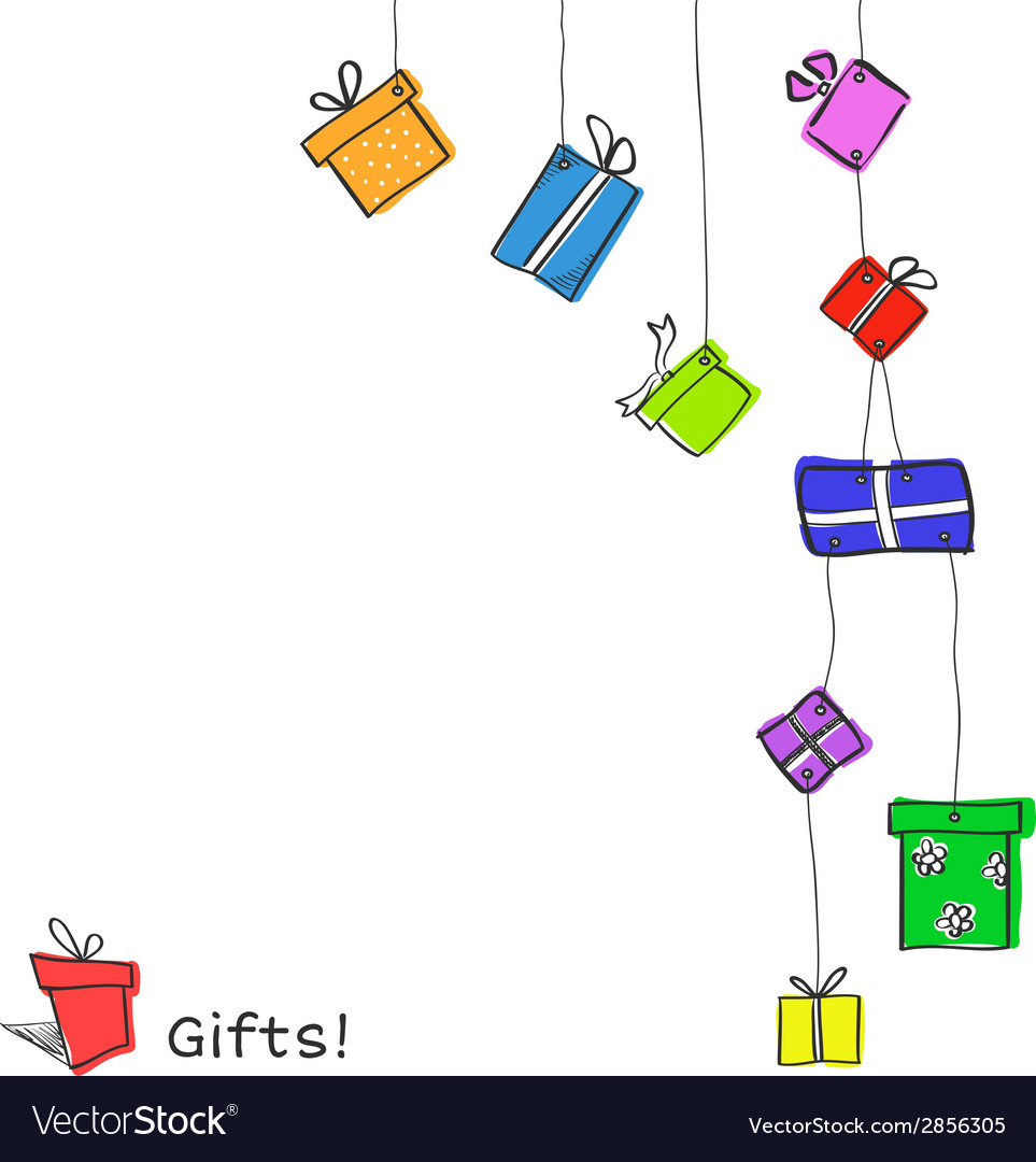 Sketch hanging gift boxes vector | Price: 1 Credit (USD $1)