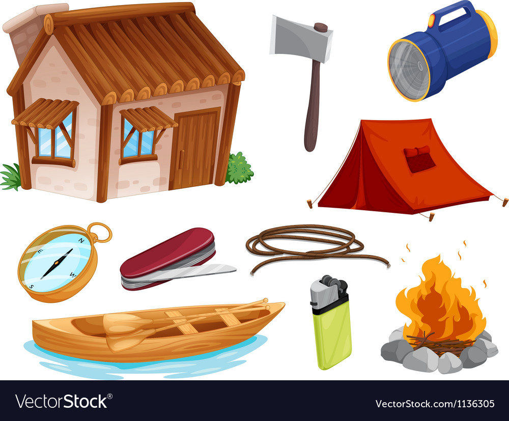 Various objects of camping vector | Price: 1 Credit (USD $1)