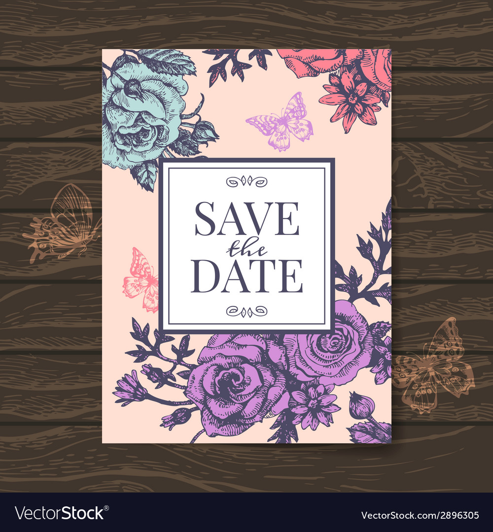 Vintage wedding invitation with rose flowers vector | Price: 1 Credit (USD $1)