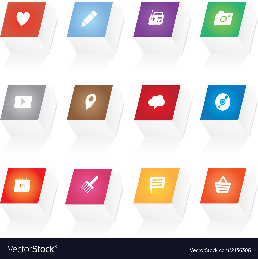 3d button icons vector | Price: 1 Credit (USD $1)