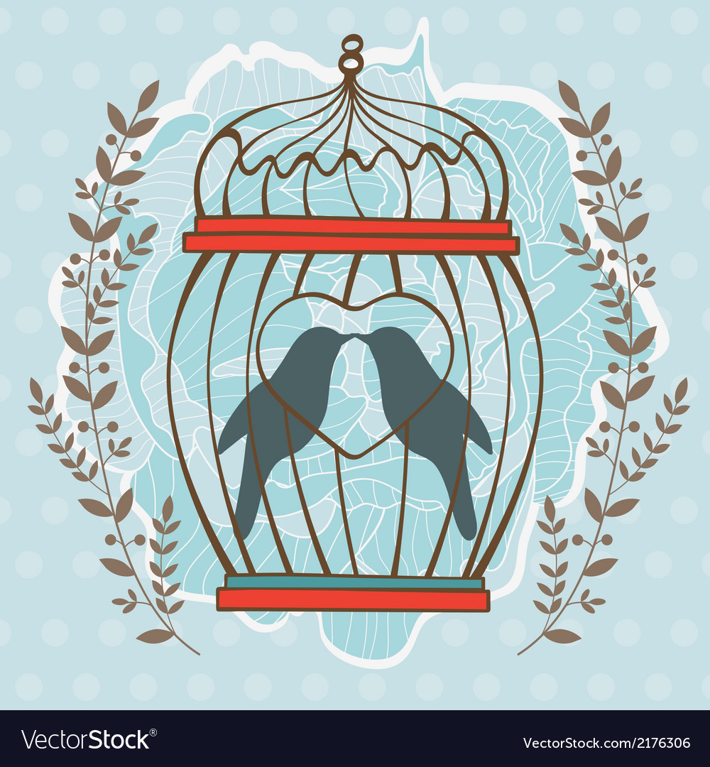 Card with birds in cage vector | Price: 1 Credit (USD $1)