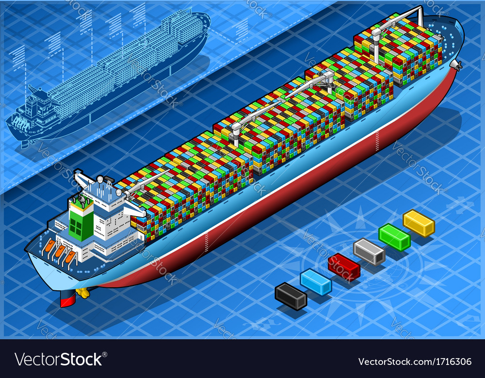 Isometric cargo ship with containers isolated in vector | Price: 1 Credit (USD $1)