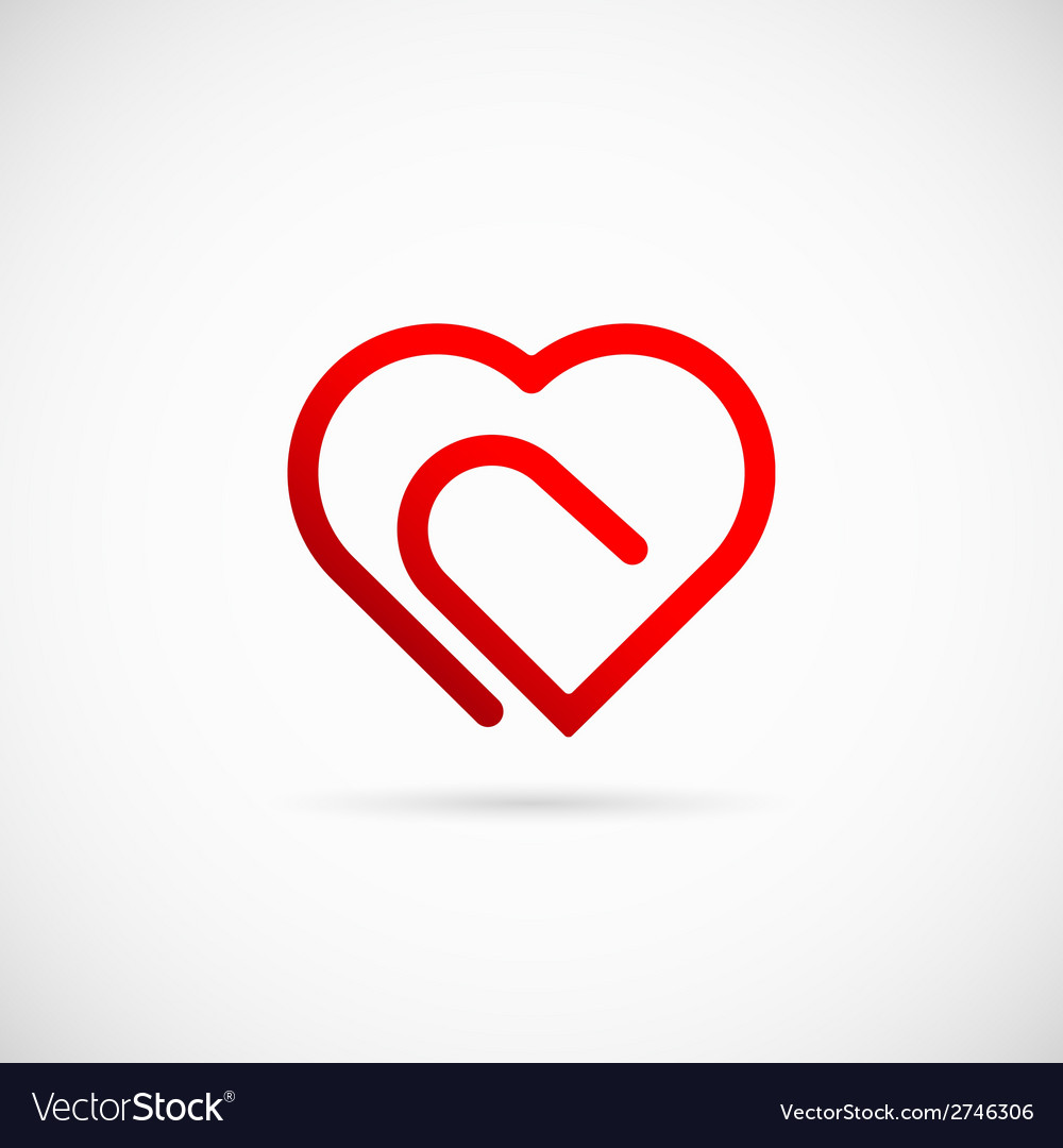 Paperclip heart concept symbol icon or logo vector | Price: 1 Credit (USD $1)