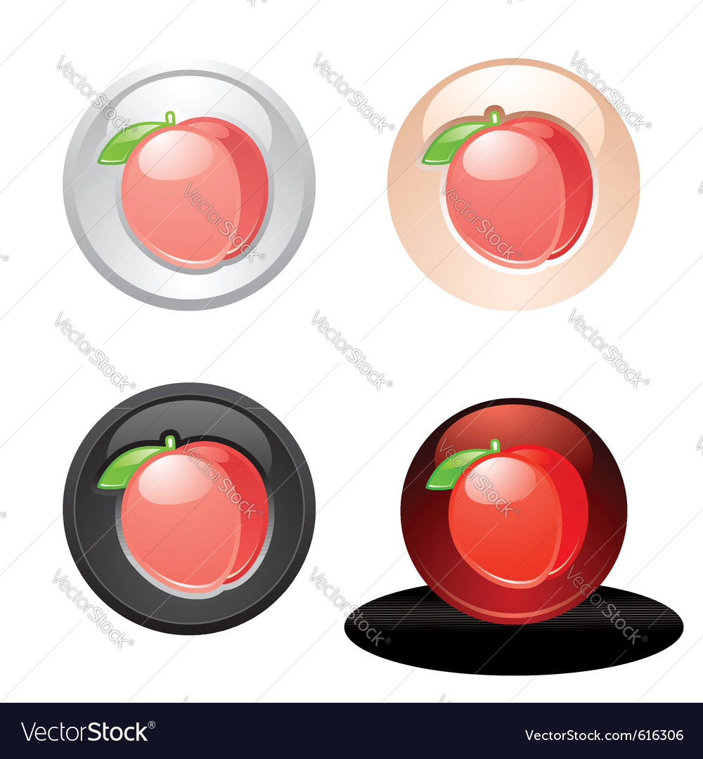 Peach button set web 20 icons vector | Price: 1 Credit (USD $1)