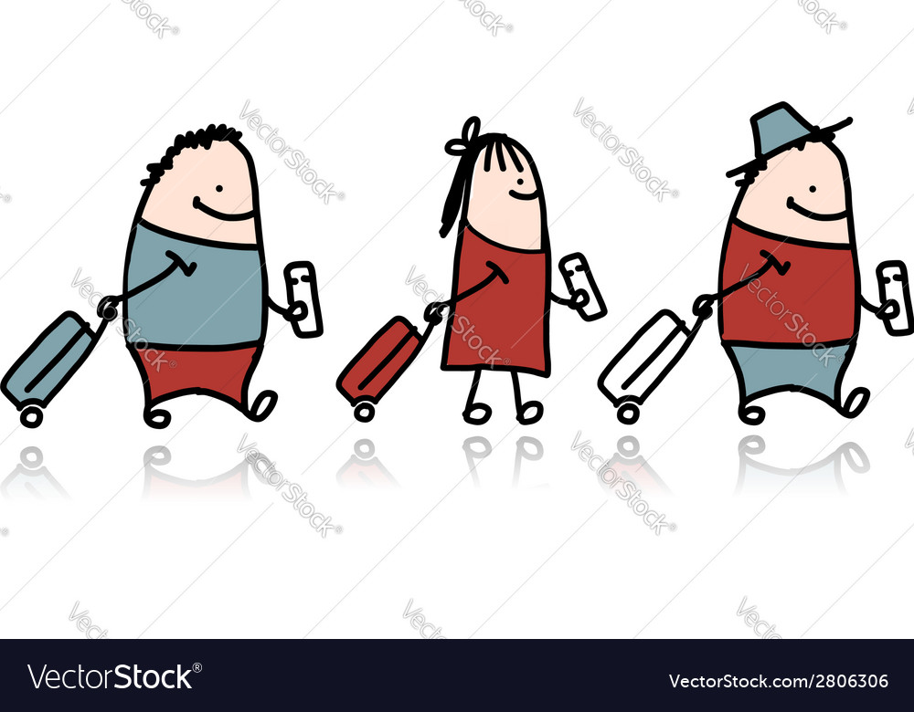 Peoples with suitcase and ticket cartoon vector   Price: 1 Credit (USD $1)