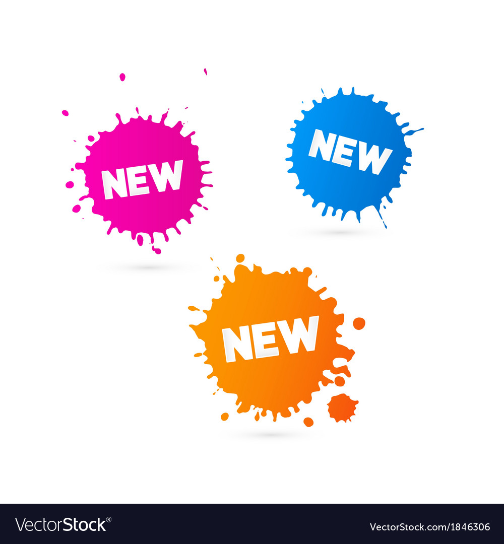 Pink orange and blue stickers - stains with new vector | Price: 1 Credit (USD $1)