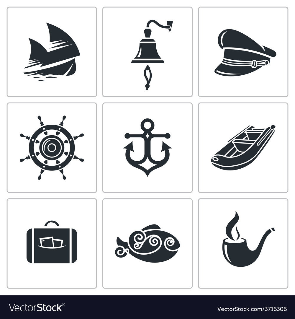 Sea tourism icons set vector | Price: 1 Credit (USD $1)