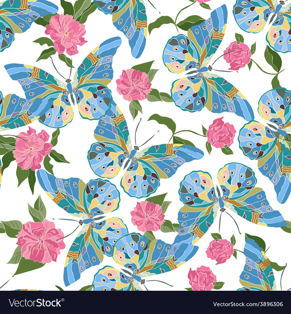Seamless pattern with blue butterflies vector   Price: 1 Credit (USD $1)