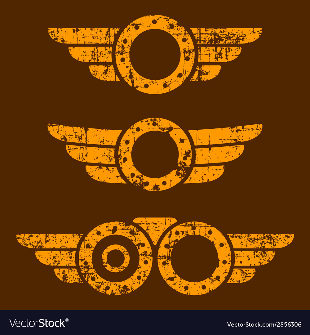 Steam punk emblem set vector | Price: 1 Credit (USD $1)