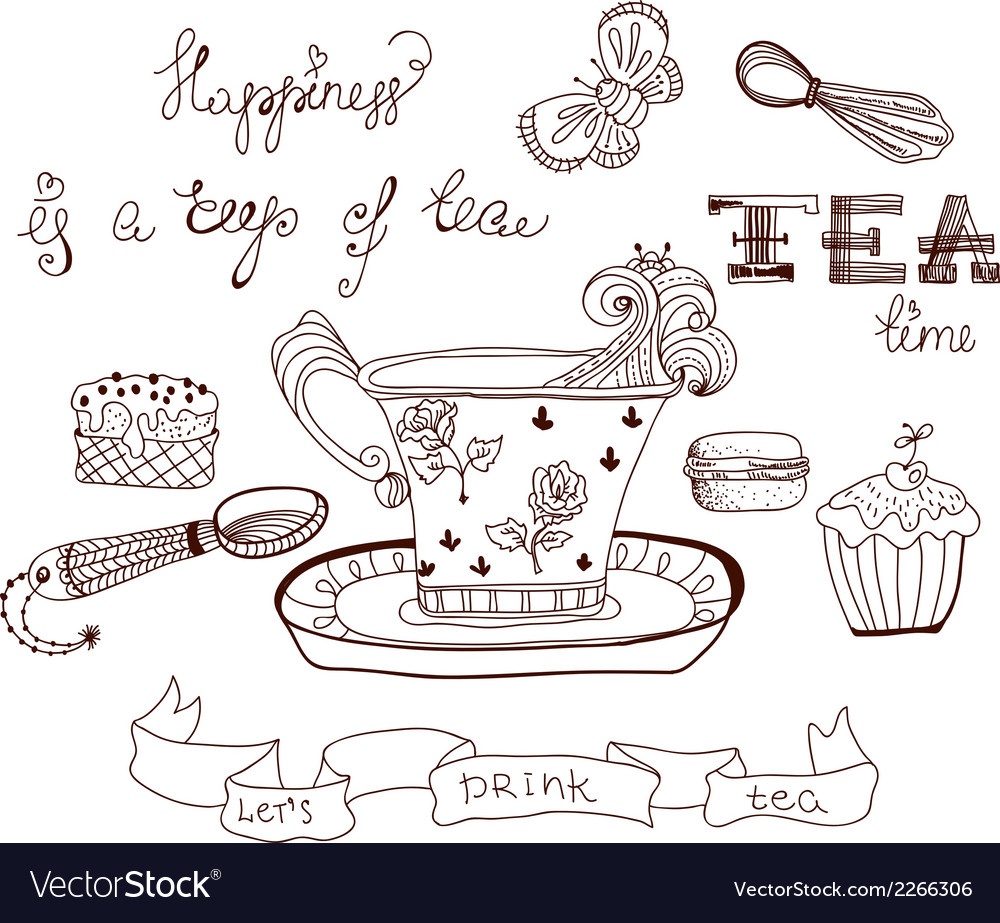 Tea time doodle background vector | Price: 1 Credit (USD $1)