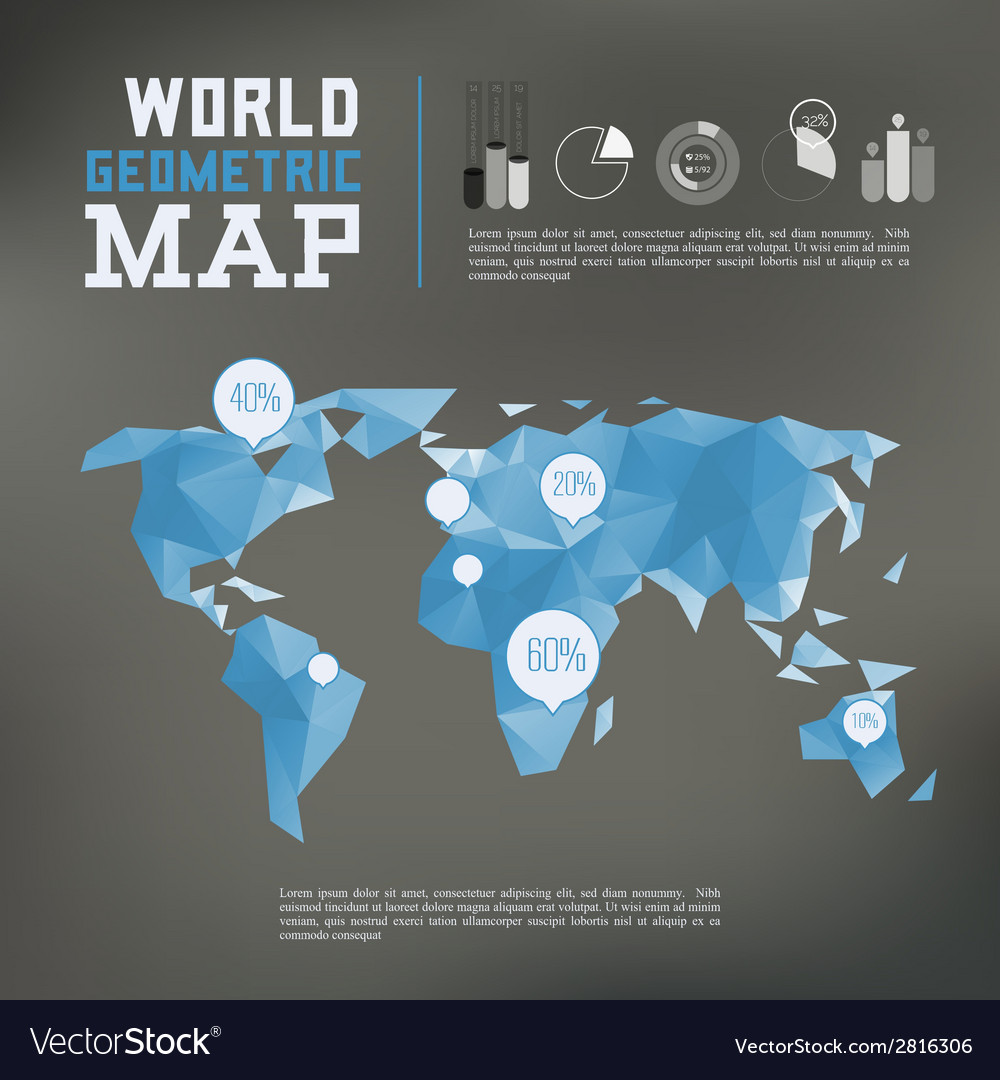 Three dimensional polygonal world map and vector | Price: 1 Credit (USD $1)