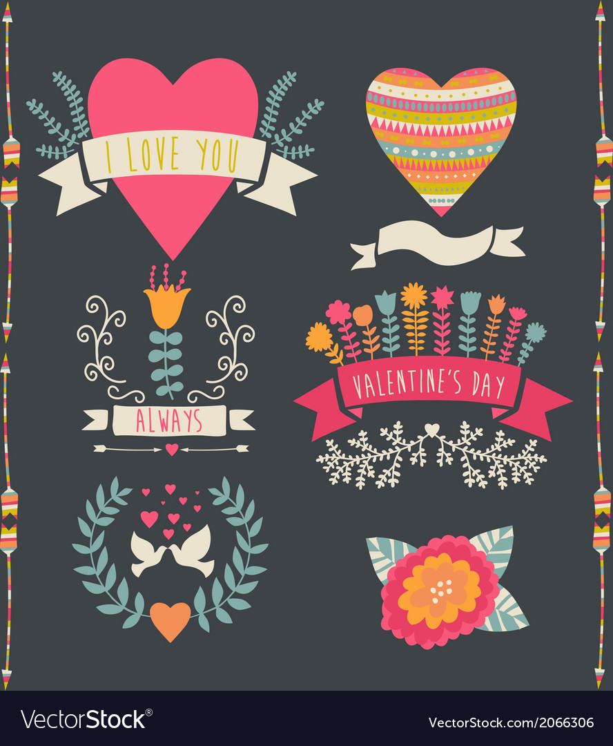 Valentine label set valentines day emblems vector | Price: 1 Credit (USD $1)