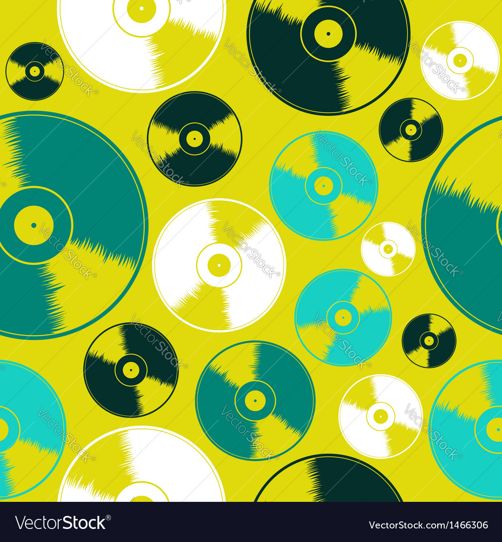 Vinyl record seamless pattern vector | Price: 1 Credit (USD $1)