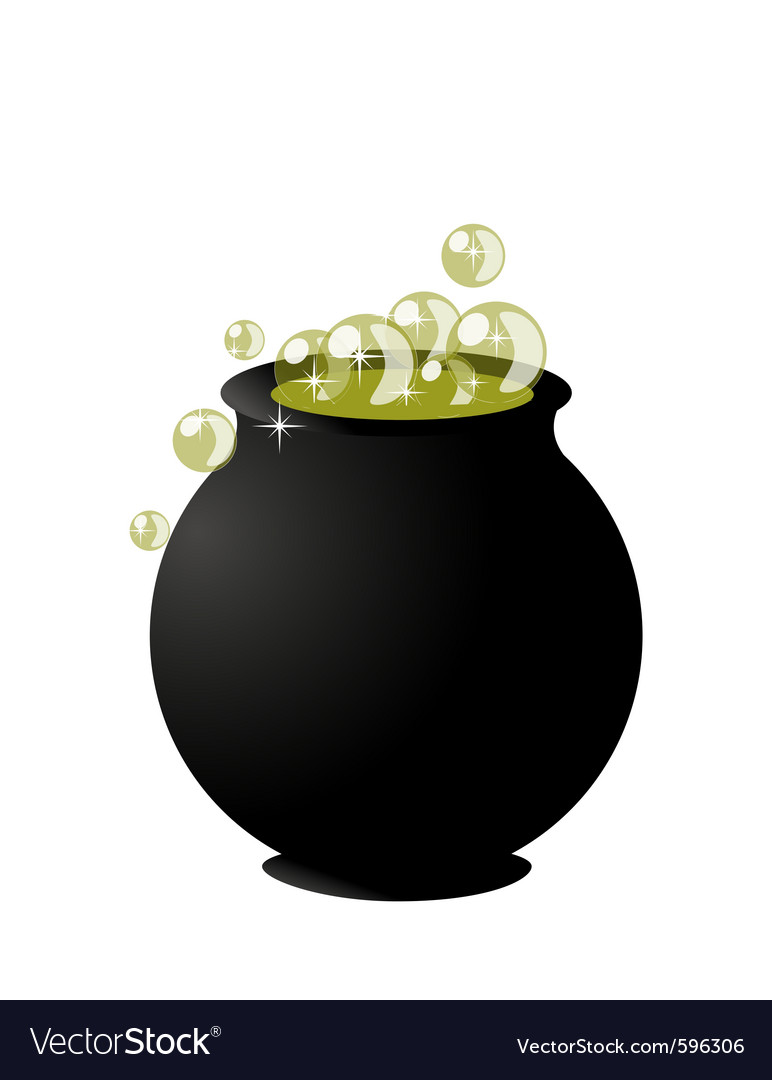 Witchs cauldron on pot on halloween on white backg vector | Price: 1 Credit (USD $1)