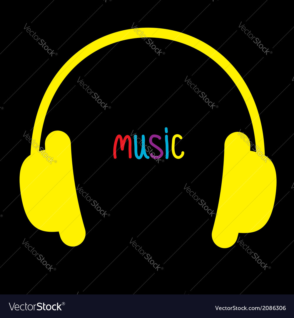 Yellow headphones and colorful word music card vector | Price: 1 Credit (USD $1)