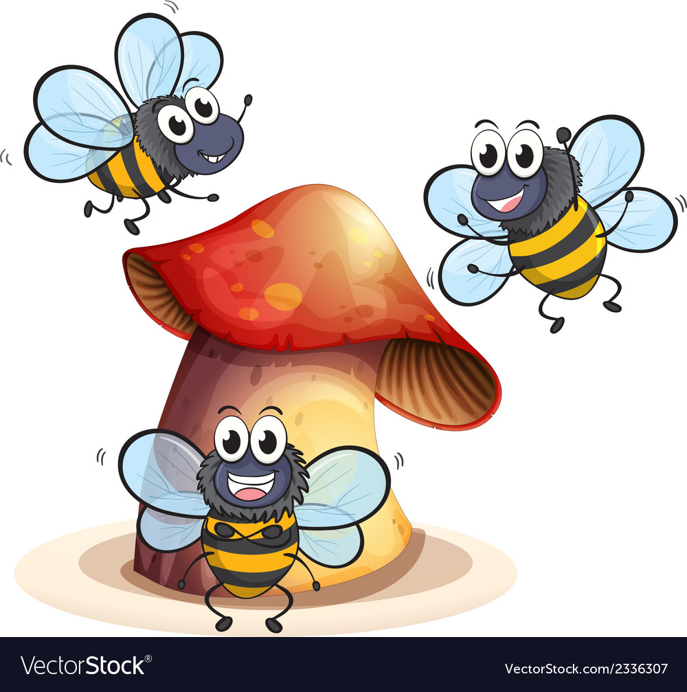 A big mushroom plant with three bees vector | Price: 1 Credit (USD $1)