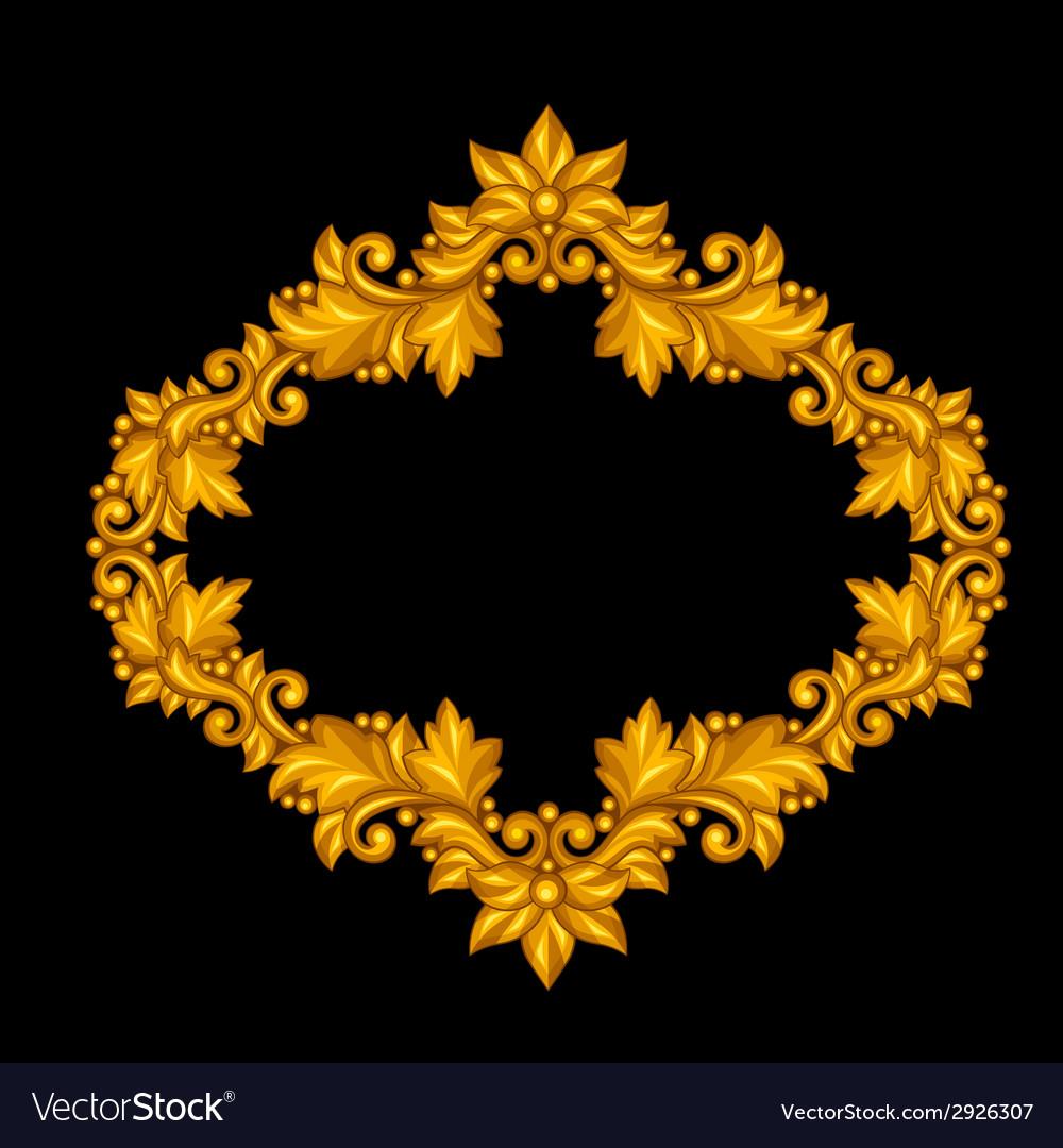 Baroque ornamental antique gold frame on black vector | Price: 1 Credit (USD $1)