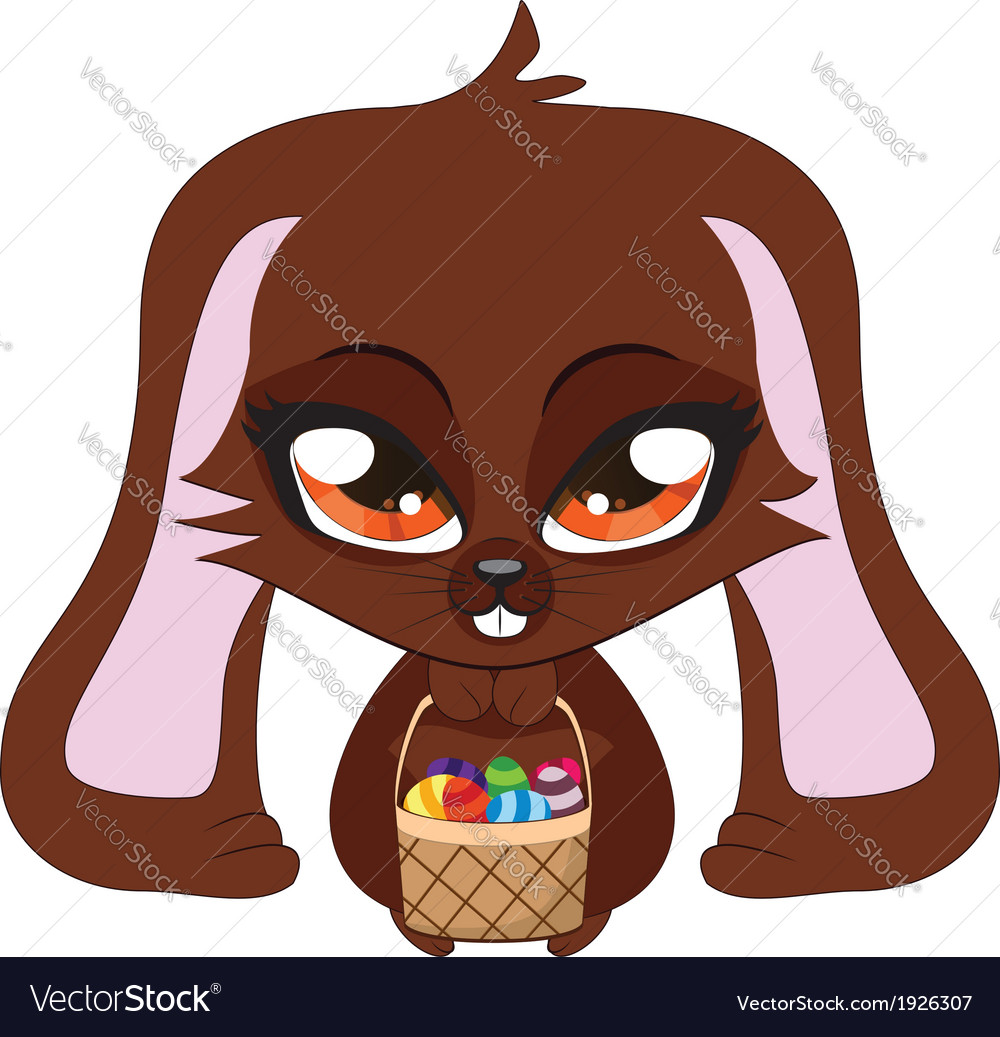 Brown bunny with easter eggs vector | Price: 1 Credit (USD $1)