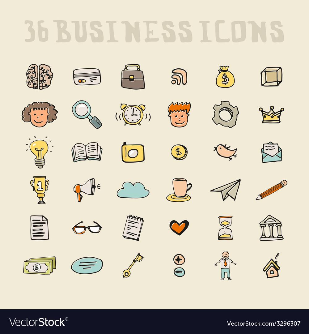 Business doodle element set vector | Price: 1 Credit (USD $1)