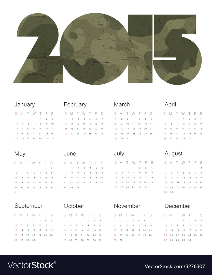 Camouflage calendar 2015 design vector | Price: 1 Credit (USD $1)