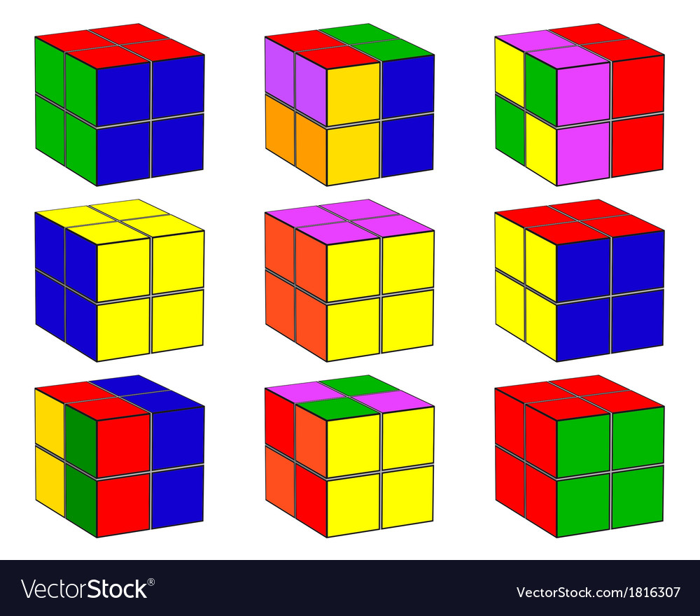 Cubes with different color vector