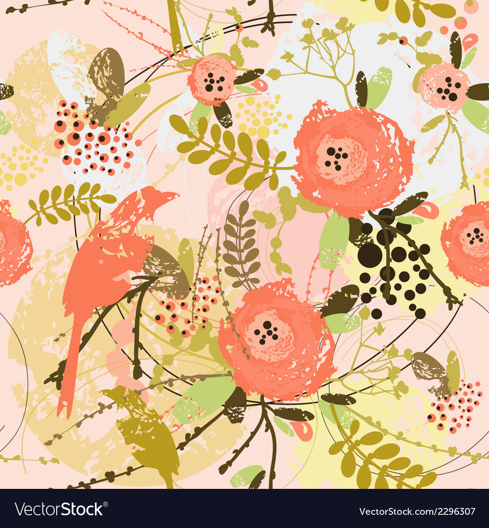 Decorative floral background with flowers of peony vector | Price: 1 Credit (USD $1)