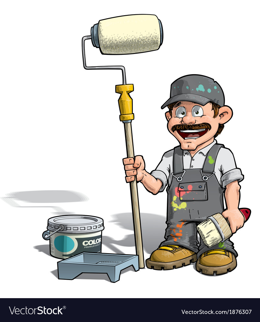 Handyman painter gray uniform vector | Price: 3 Credit (USD $3)