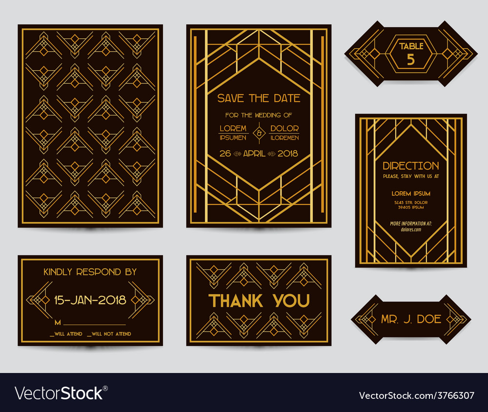 Set of wedding cards - art deco vintage style vector | Price: 1 Credit (USD $1)