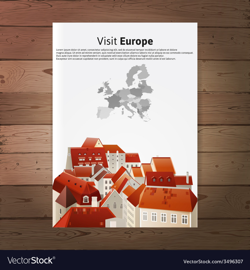 Visit europe placard with city landscape vector | Price: 1 Credit (USD $1)