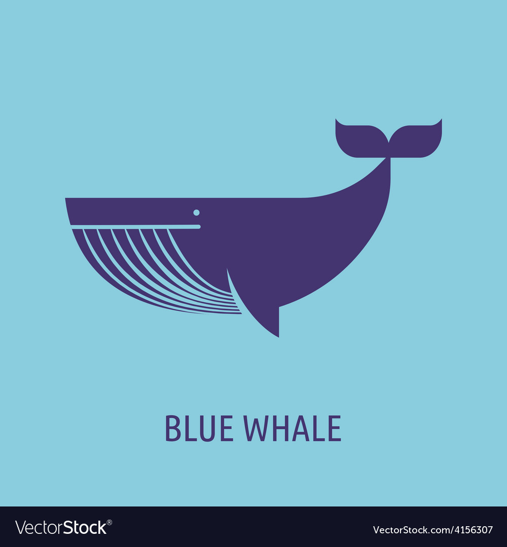 Whale icon on the blue baground vector | Price: 1 Credit (USD $1)