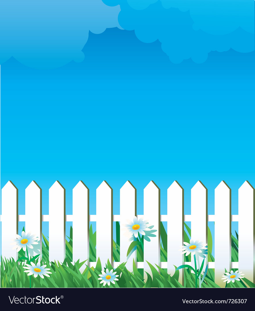 White fence and daise vector | Price: 3 Credit (USD $3)