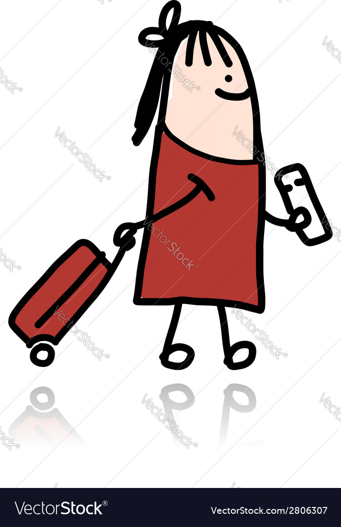 Woman with suitcase and ticket cartoon vector | Price: 1 Credit (USD $1)