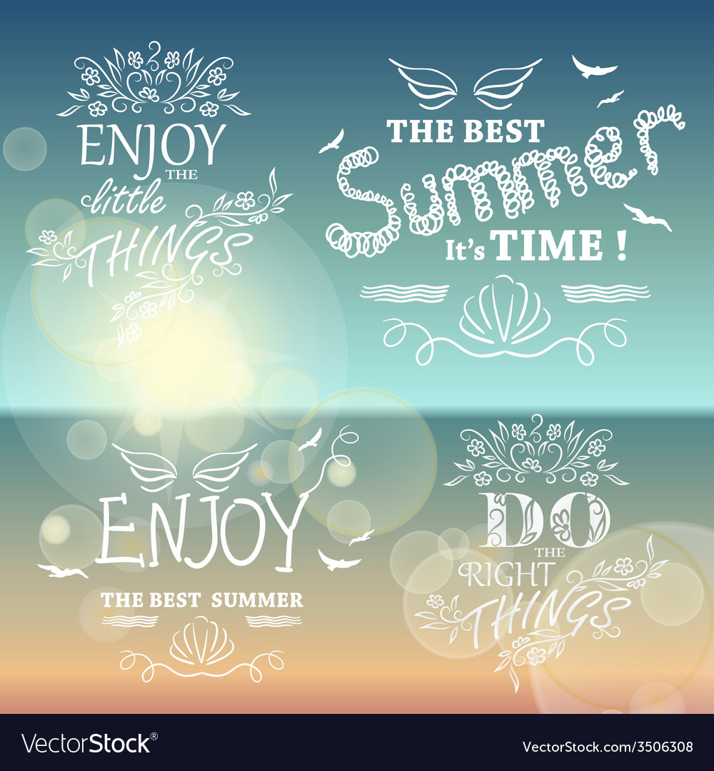 Beautiful seaside view poster set of background vector | Price: 1 Credit (USD $1)