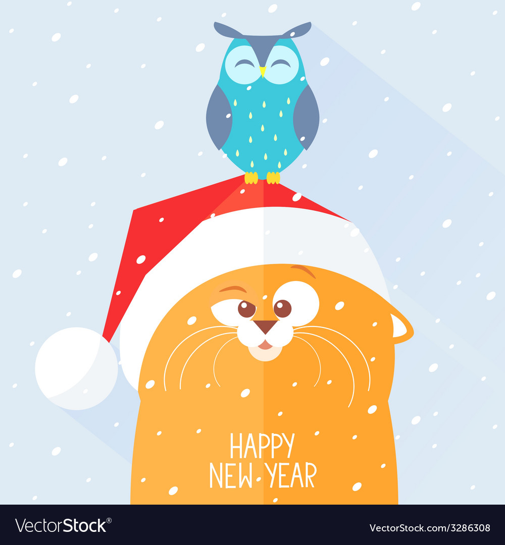 Cat new year vector | Price: 1 Credit (USD $1)