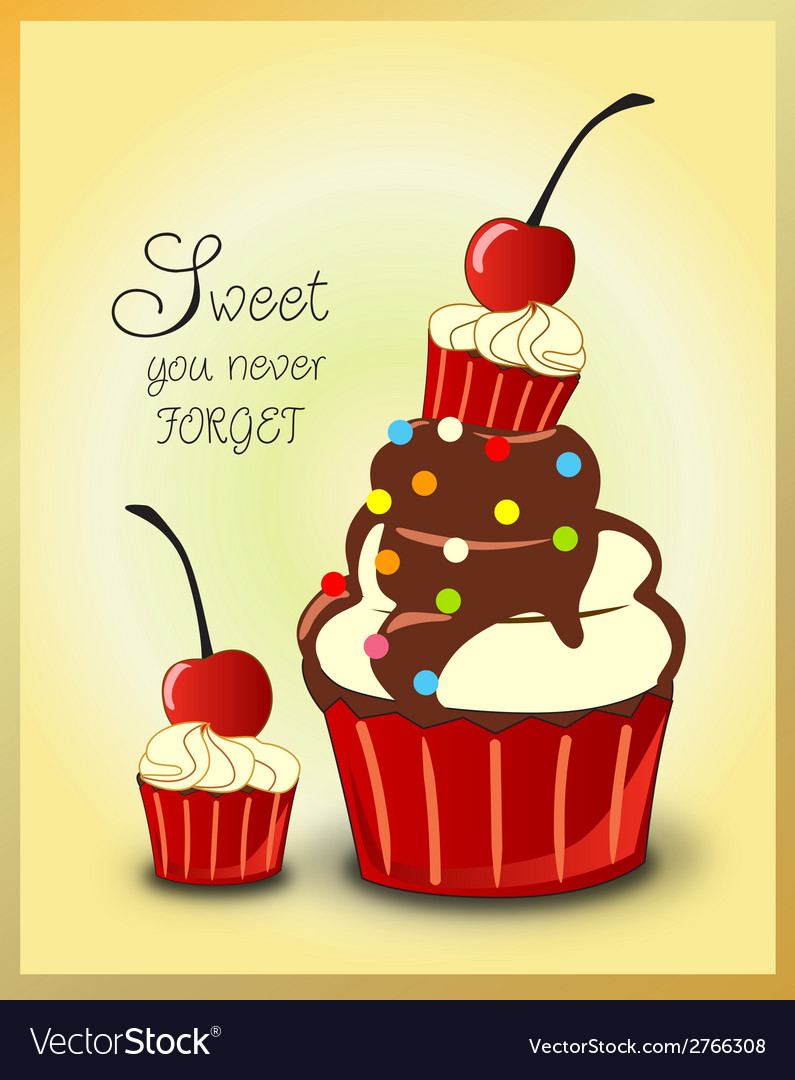 Chocolate cupcakes cherry and mini cupcake vector | Price: 1 Credit (USD $1)